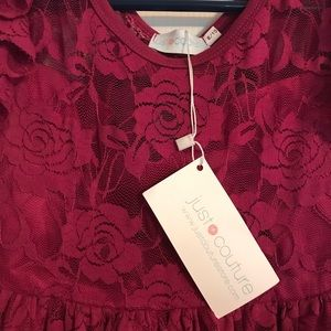 Girls justcouture berry lace dress NWT
